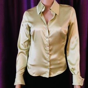 bebe Chartreuse Silk Top, Size Small